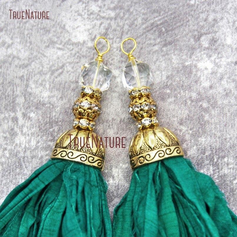 10 sztuk szmaragdy zielony Sari jedwabne Tassel wisiorki z kryształu i złoty Rhinestone piłka przędzy wstążka Tassel wisiorek PM20067 w Wisiorki od Biżuteria i akcesoria na  Grupa 1