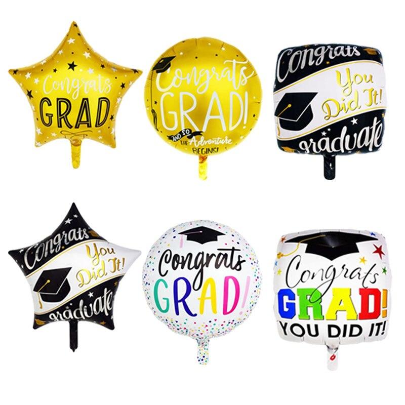 """18 globos de papel de aluminio /""""graduación motarboard COLLEGE Fiesta Decoración paquete plano"""