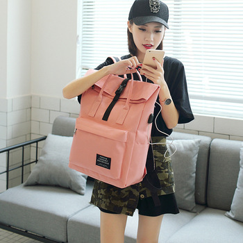 2019 Travel Solid Color Both Shoulders Backpack College Canvas Leisure Time Both Shoulders Woman school bags for teenage girls фото