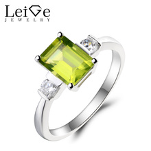 Leige Jewelry Peridot Promise Ring Natural Peridot Ring August Birthstone Emerald Cut Green Gemstone 925 Sterling Silver Gifts