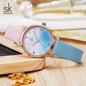 Image 3 - Shengke Creative Color Leather Watches Women Ladies Quartz Watch Relogio Feminino 2019 SK Women Wrist Watch Montre Femme #K8029