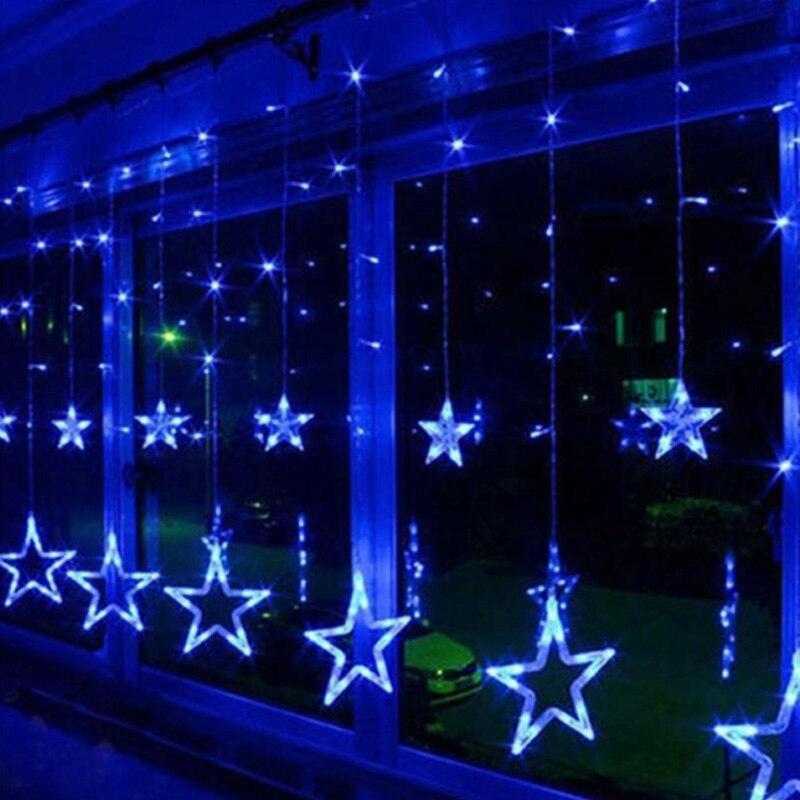 EU Plug 10Star LED Curtain String Light 4M 138LEDs Icicle String Light New Year Party Wedding Holiday Christmas Light Deco