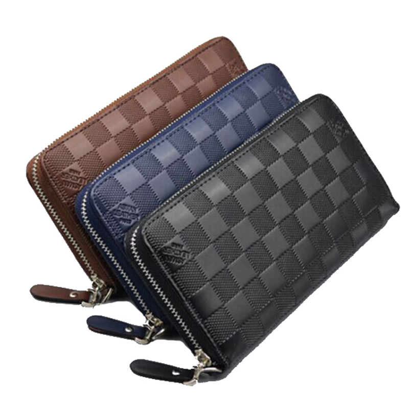 2017 New Fashion Zipper PU Leather Long Standard Men Wallets Coin Pocket Purse Vintage Plaid Men Clutch Bags Card Holder ybyt brand 2017 new fashion simple solid zipper long women standard wallets hotsale ladies pu leather coin purses card package