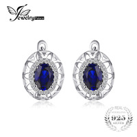 High Quality Blue Oval Cut Sapphire Flower Clip Earring 925 Solid Sterling Silver Amazing