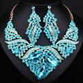 Jóias de Casamento de luxo de Cristal Cheio de strass Colar de Declaração e Brincos Dubai conjuntos de Jóias Africano