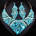 Luxury Wedding Jewelry Full Crystal rhinestones Statement Necklace and Earrings Dubai African Jewelry sets