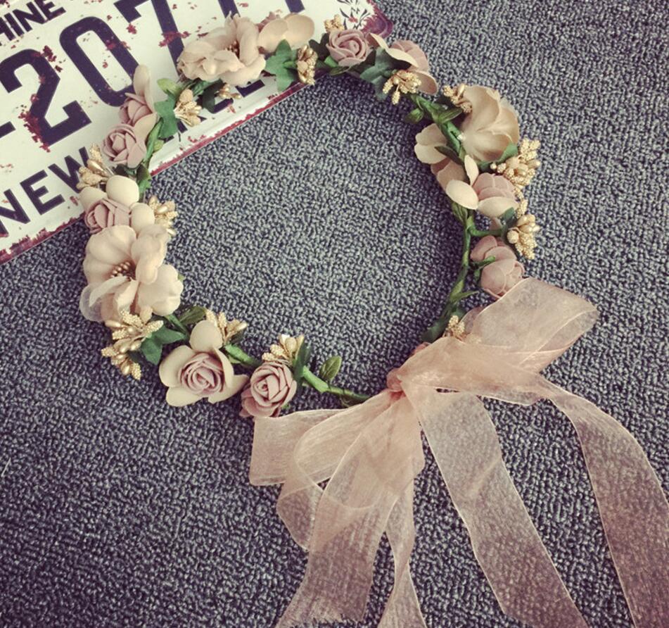 Coffee Woman Girl Silk Flowers Wreath Garland Crown Headband For