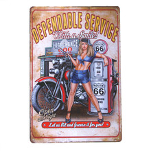 Dependable Service With A Smile Motorcycle Biker Pin Up Route 66 USA Garage Hot Rod Wall Stickers Decor