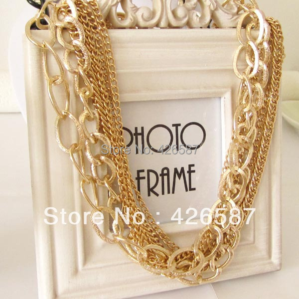 multi chain gold filled plated chunky choker collar statement link necklace women jewellery fashion jewelry - Yiwu M Queen Jewelry Factory store