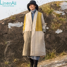 100% linen clothing women's yellow and gray V-neck pure linen long  trench coat  outerwear  WUYOU