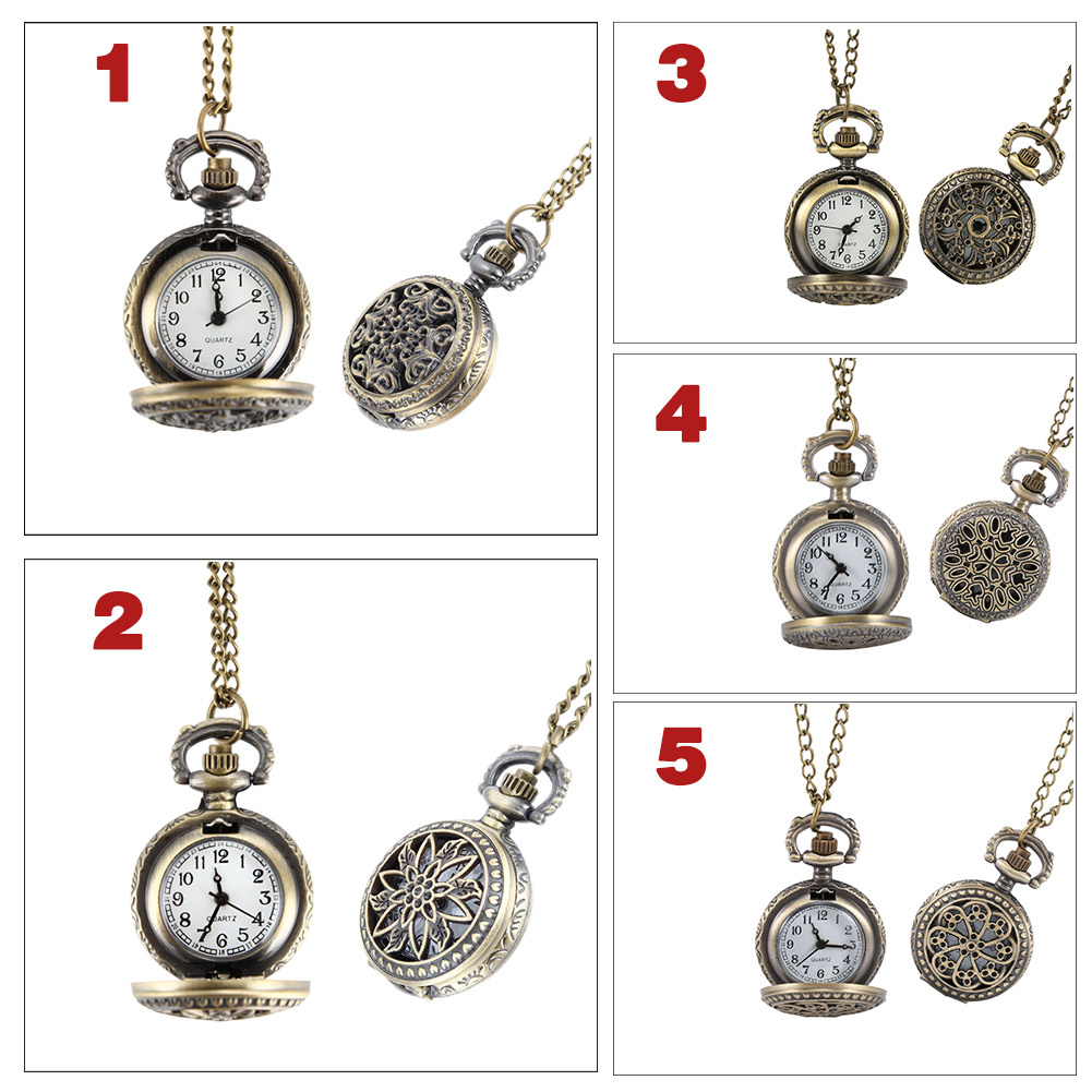 Fashion Vintage Women Pocket Watch Alloy Retro Hollow Out Flowers Pendant Clock Sweater Necklace Chain Watches Lady Gift LXH