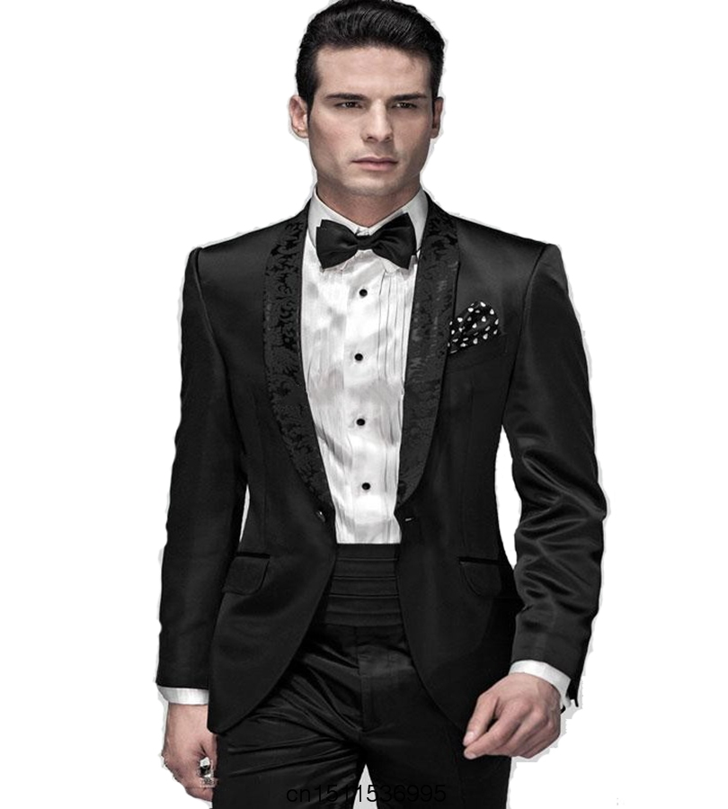 Classic Design Groom Tuxedos Decorative pattern Men Dinner Party ...