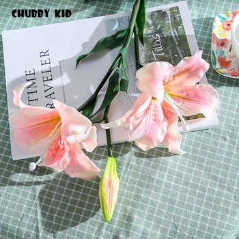 6pcs /lot ! Wholesale High simulation latex Lily flower 86cm long stem real touch 3 heads fake Lilies wedding decorative flowers