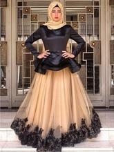 Modest High Neck Long Sleeves Muslim Evening Dresses Dubai Arabia Hijab Lace Appliques Evening Party Gown robe de soiree