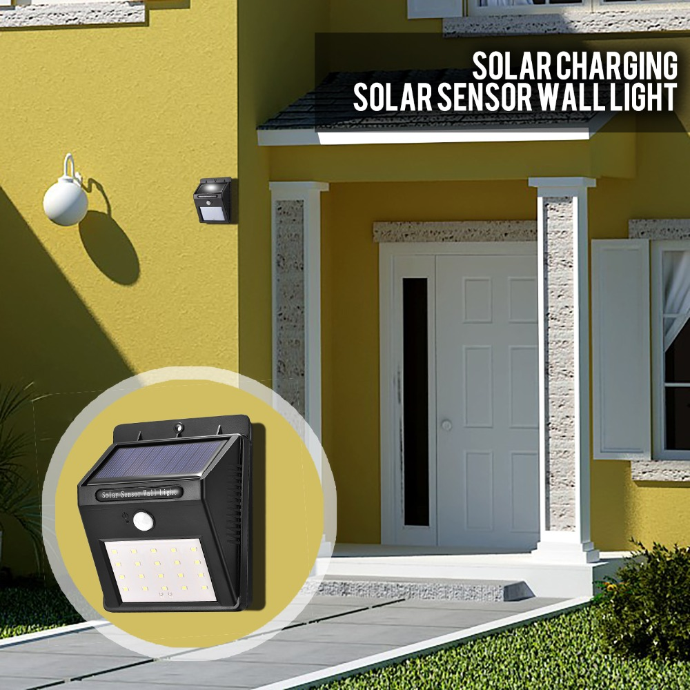 Espow 20 LED Solar Light PIR Motion Sensor Solar Powered Wall Light Outdoor LED Fence Garden Light Pathway Wall Emergency Lamp
