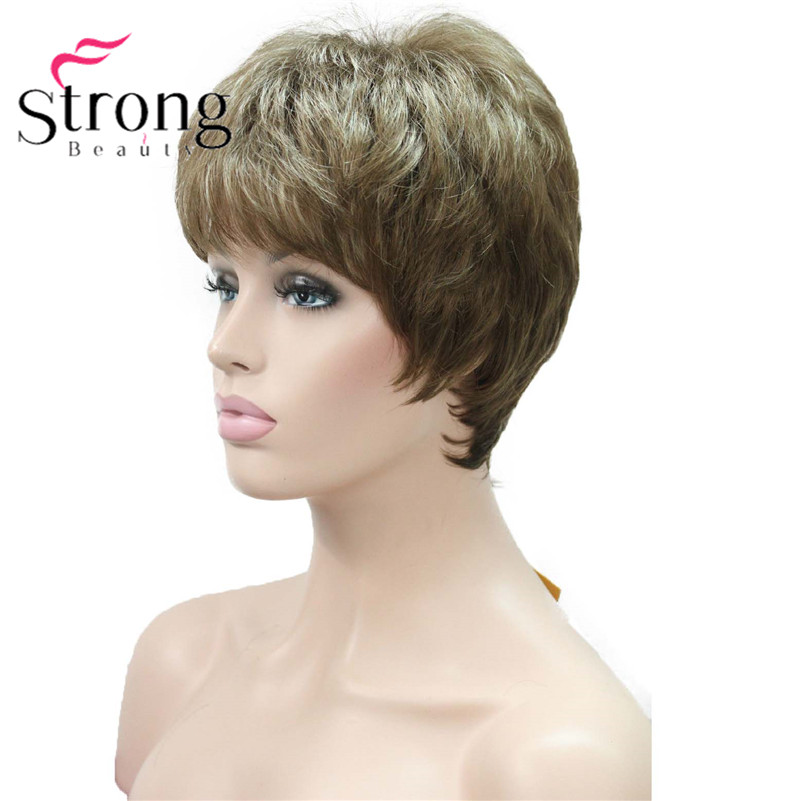 E-1777 Fashion Women`s Wigs Blonde & Light Brown Mix Short Synthetic Full Wig (6)