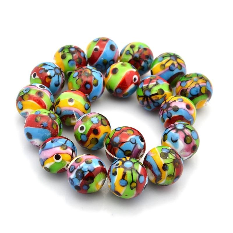50pcs 16mm Multi Color Handmade Lampwork Larmp Work Jewelry Making Beadwork DIY Findings Ball Round Beads