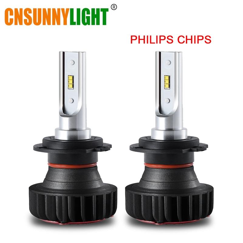 все цены на CNSUNNYLIGHT H7 LED H4 H1 with Philips ZES Chips Car Headlight H11 9005 Bulb 9900LM 72W/pair 9006 H8 Fog Lamp 12V 24V Auto Light онлайн