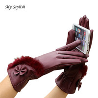 Luxury Women S Fashion Women Leather Winter Super Warm Gloves Cashmere Full Finger Accessories High Quality