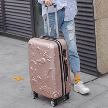 Wholesale!24inches fashion music printed hardside travel luggage on universal wheels for men and women,pink/green/golden boxcase