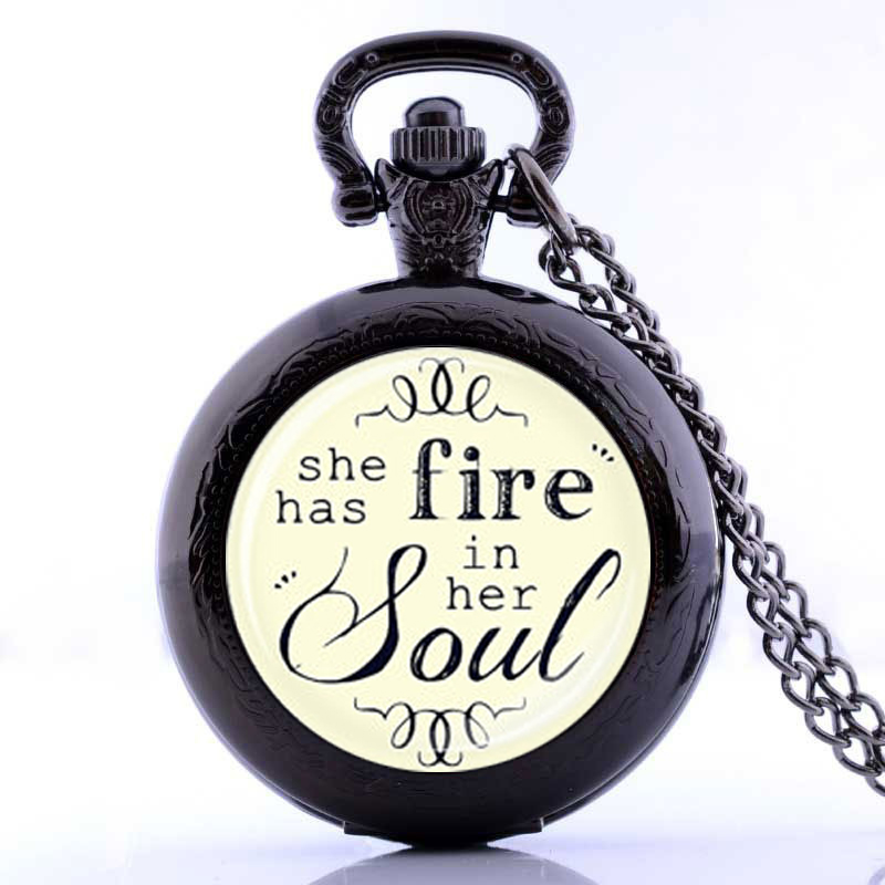 Medium She Has Fire In Her Soul Pocket Watch Necklacesilver Plated