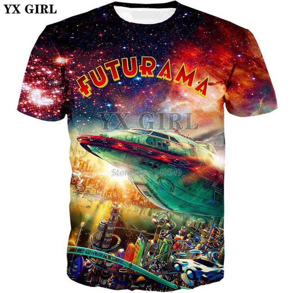 0704ca6751797 YX GIRL Plus size XS-7XL 2018 summer New style Fashion T shirt futurama  city Creative Print 3d ...