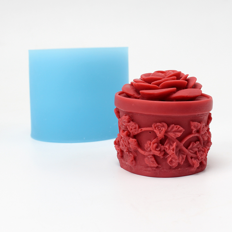 Nicole Silicone Soap Candle Mold Cylindrical With Relief Handmade Craft Resin Clay Chocolate Candy Mould