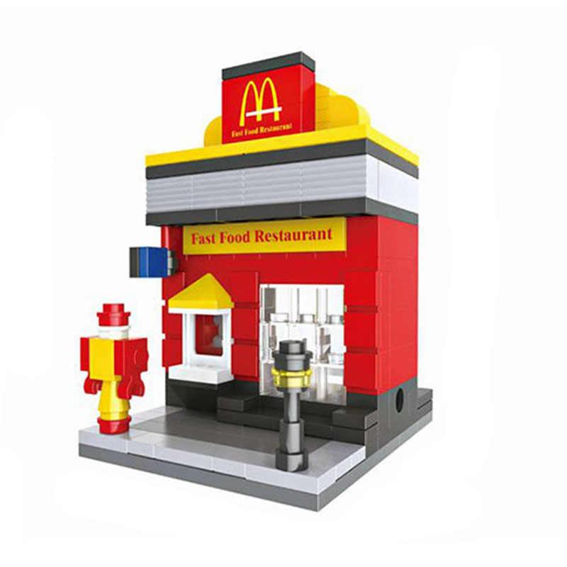 194pcs Mini Street View Building Blocks DIY Doll House Models Building Bricks Toys Learning Education Kids Toys