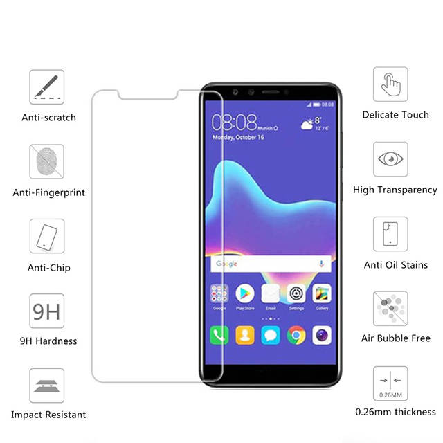 US $1 03 25% OFF|9H HD Tempered Glass For Huawei Y6 Prime Y9 Y7 Y5 2018  Film Screen Protector Glass Protection on Huawey Honor 7A 7C Russia Pro-in