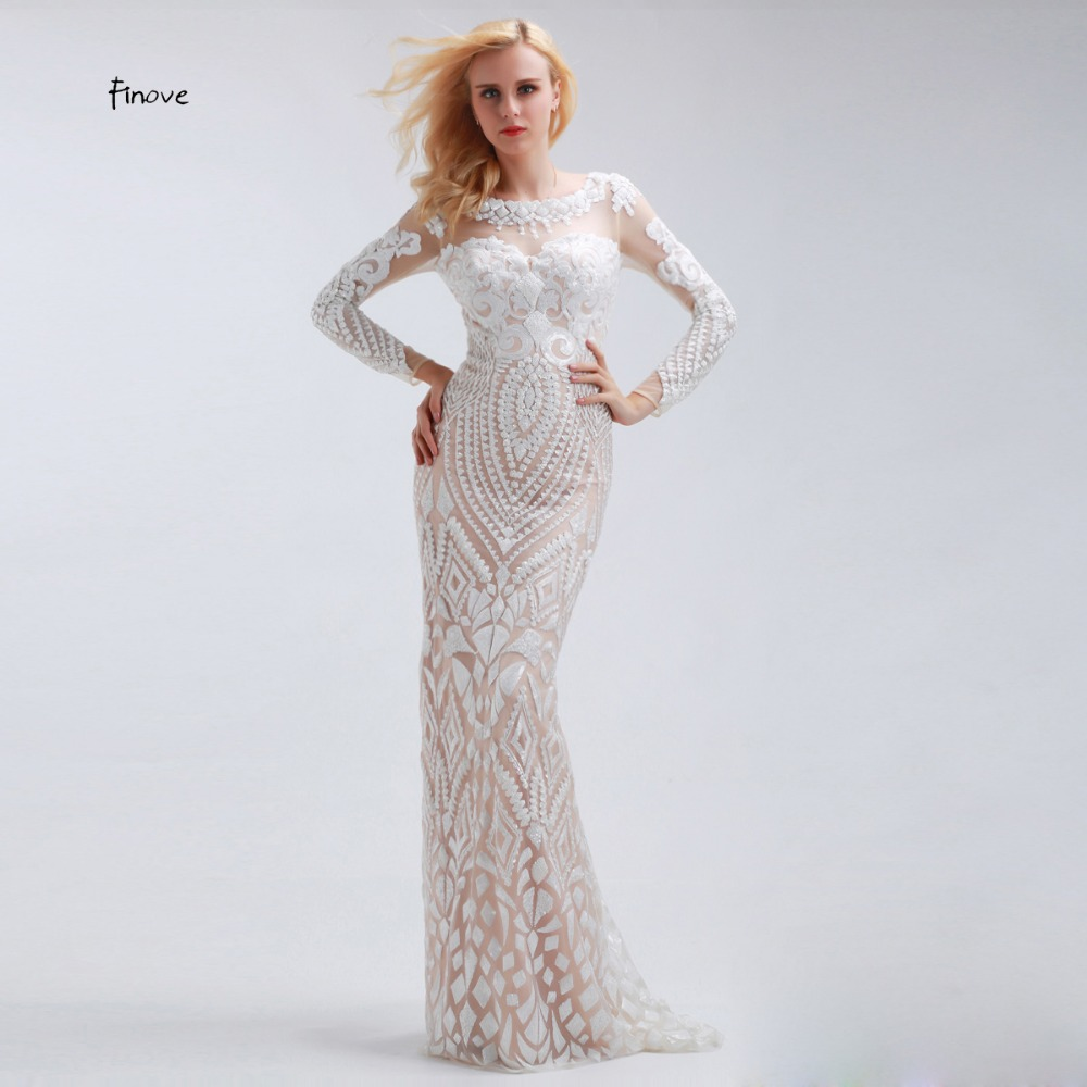 Finove White Long Evening Dresses Elegant 2019 with long sleeves Straight Floor Length Formal Plus Size