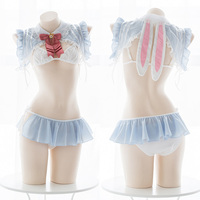 Anime Alice in Wonderland Theme Kawaii Rabbit Ears Underwear Set Cosplay Women's Pajamas Sexy Hollow out Lingerie Suit Chiffon