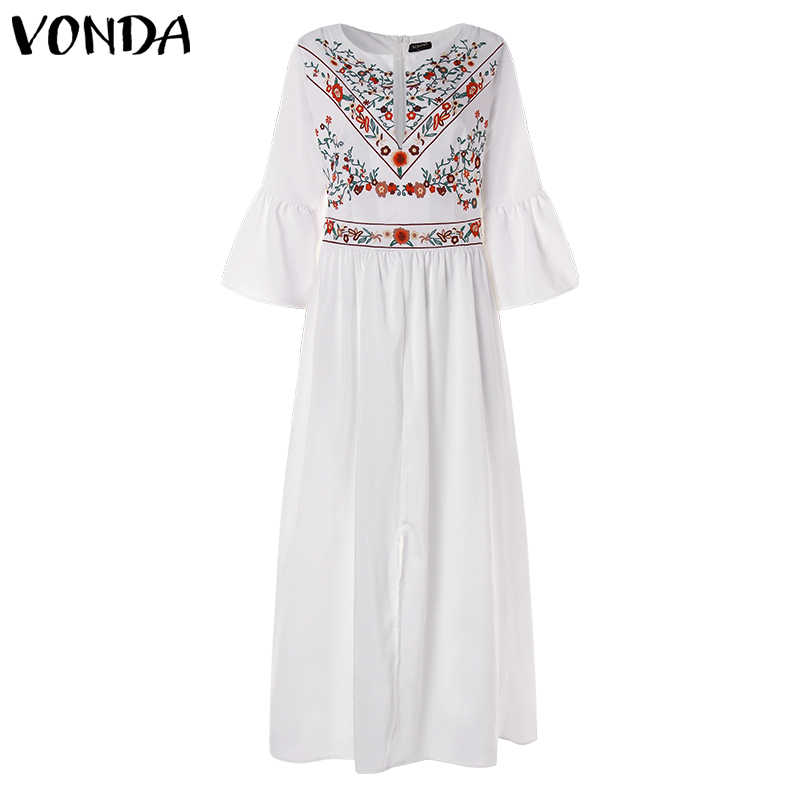 1800b76e60691 VONDA Women Vintage Print Dress Sexy V Neck Ruffle Sleeve Split Maxi Long  Dresses Plus Size Casual Loose White Vestidos