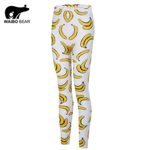 Hot Sale Banana Printed Leggings Fitness Women Workout Leggings Brand Fashion Push UP Stretchy Objects Pants Female Trousers
