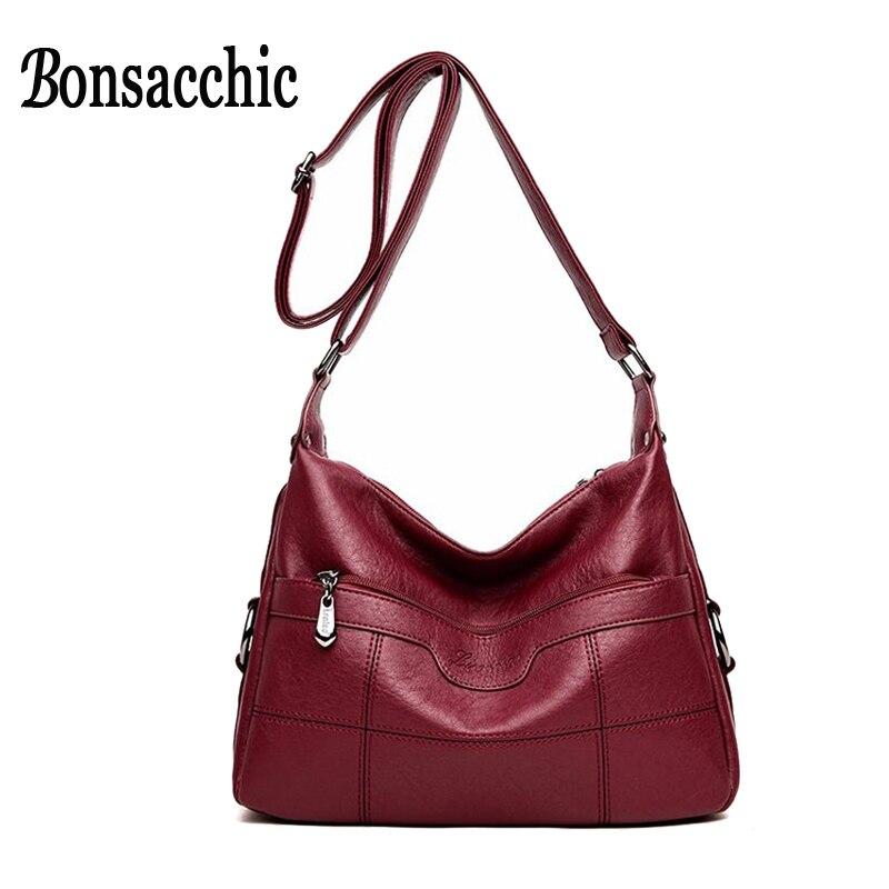 Bonsacchic Red Genuine Leather Bags for Women Bag Handbags Women Famous Brands Sheepskin Shoulder Bags Small Hobos bolsos mujer