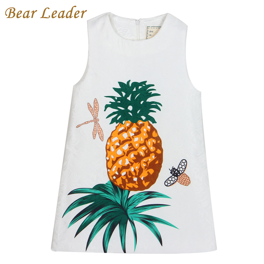 Подробнее о Bear Leader Girls Dress 2016 Brand Princess Dresses Girls Clothes Sleeveless Pineapple Pattern Print Design for Kids Clothes bear leader girl dresses 2016 brand girls costumes princess dress kids clothes sleeveless bow plaid pattern girls dress children