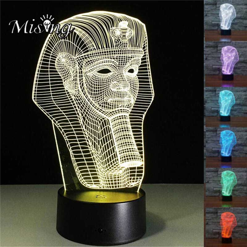 Mising 3D Pharaoh Creative 7 Colorful Lights Button USB Night Light Acrylic ABS Base for Home Outdoor Garden Decorative Lights
