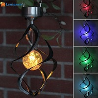 Lumiparty Colorful Solar lamp Powered LED Wind Chimes Wind Spinner Outdoor Hanging Spiral Garden Light Courtyard Decoration