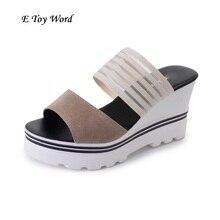 Лето 2017 г. женская обувь босоножки на платформе женские повседневные туфли из мягкой кожи с открытым носком гладиаторы на танкетке мелочь mujer Женская обувь на плоской подошве