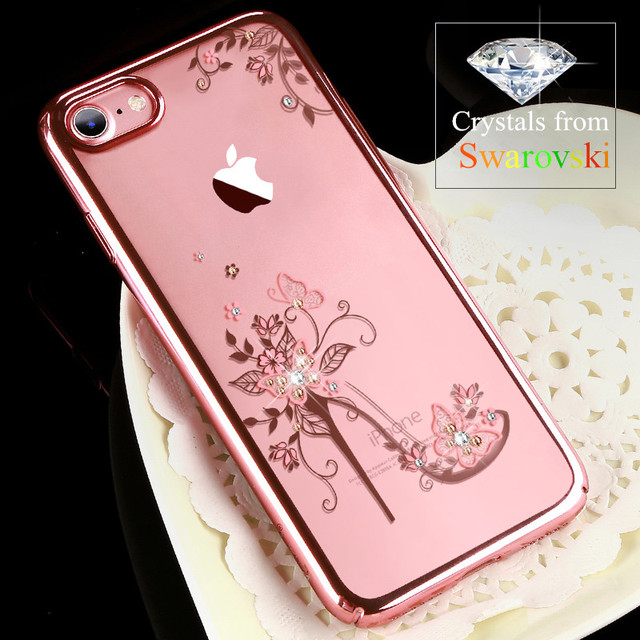 3e98503d4 KAVARO for iPhone 7 8 Plus Case Crystals from Swarovski Diamond Glitter Floral  Case for iPhone 8 Plus Cover PC Hard Capa Coque