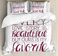 Romantic Duvet Cover Set , Romance Quote Our Story is My Favorite Love and Adoration Valentine's Theme, 4 Piece Bedding Set