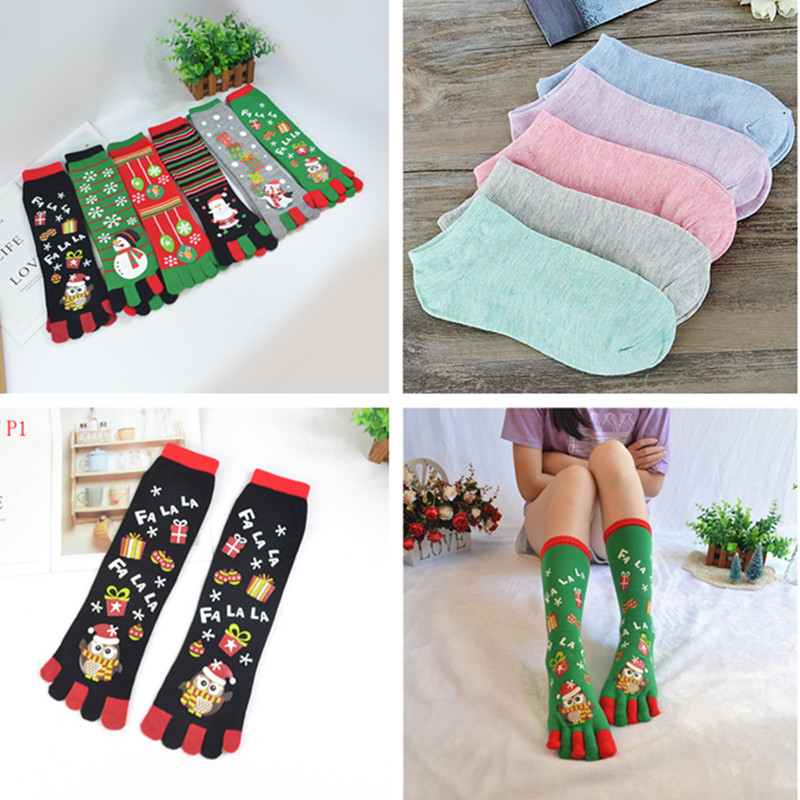 Snowman Santa Claus Snowflake Print Multicolor Five Finger Cotton Socks Toe Socks Long Sokken Christmas Gift