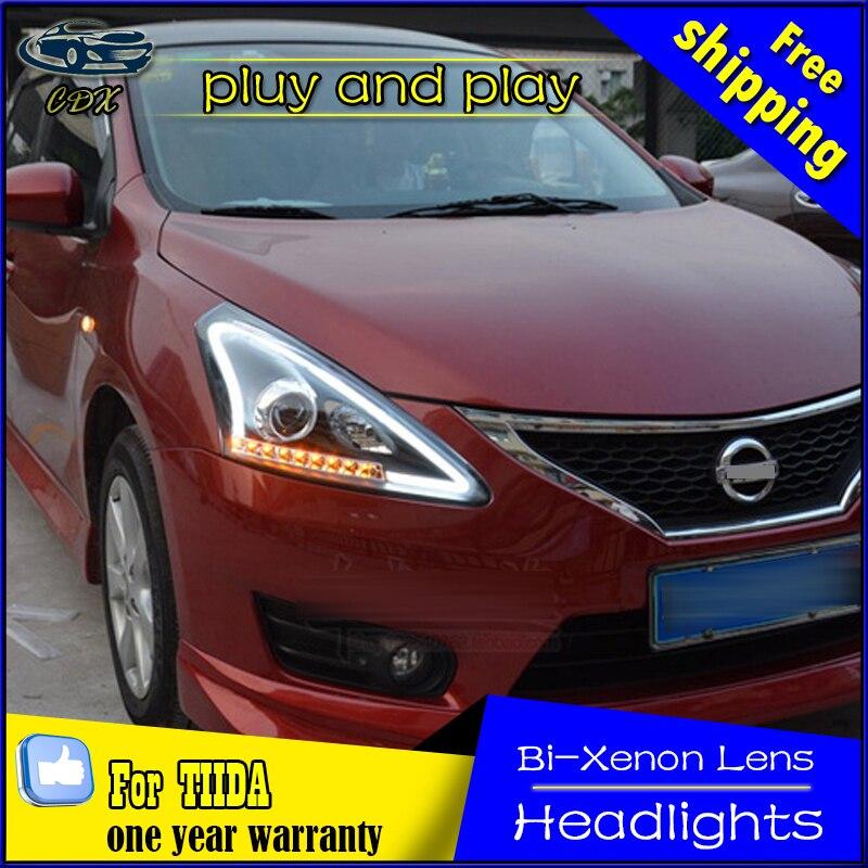 Car Styling Head Lamp for Nissan Tiida LED Headlight 2012-2016 Tiida Headlights Daytime Running Light Bi-Xenon HID Accessories