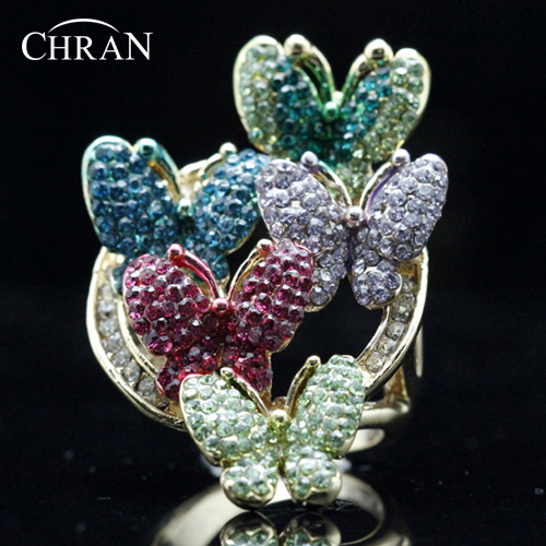 Chran Classic Animal Shape Gold Color Party Jewelry Rings Elegant Multicolor Crystal Butterfly Design Engagement for Women