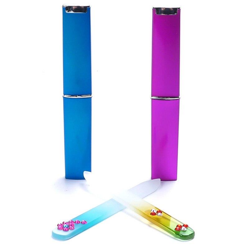 1Pc Glass Nail File Buffer With Barrelled Box Professional Beauty Glitter Crystal Nail Art File Polishing