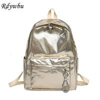 3e216d9c07e8 Rdywbu Fashion Glossy Shiny Backpack Gold Waterproof Nylon School Bag For  Teenager Girls Silver Book Bag