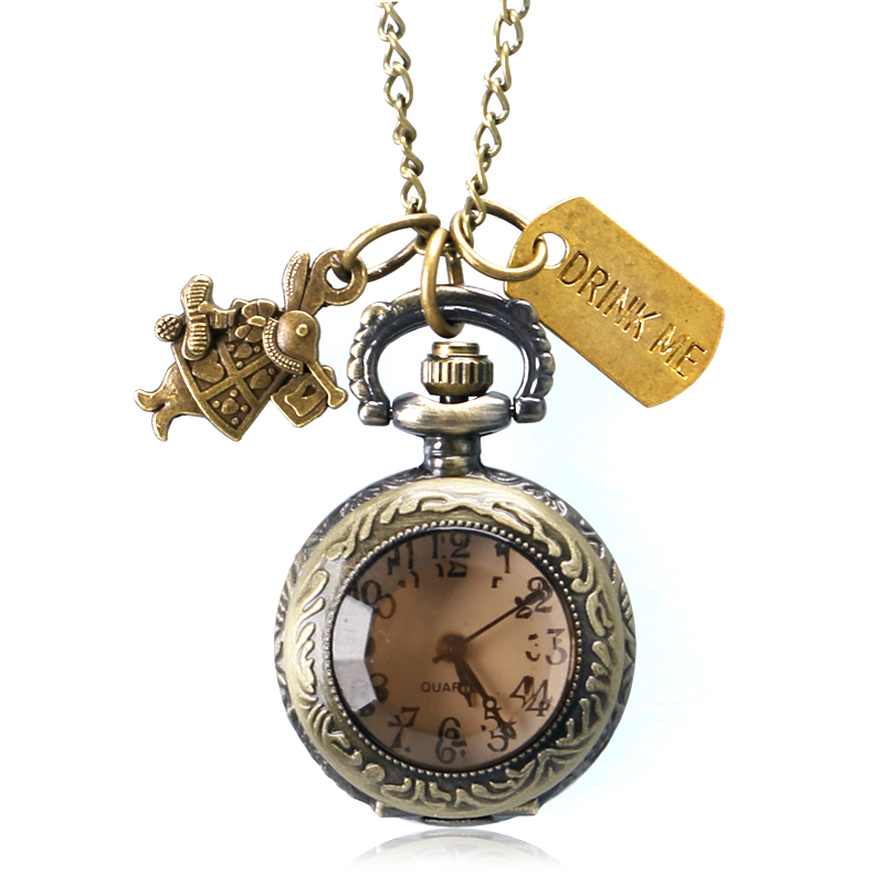 2016 New Alice In Wonderland Drink Me Tag Dark Brown Quartz Pocket Watch Lovely Women Girl Ladies Pendant Chain Gift heart shaped hollow alice in wonderland drink men tag pocket watch women ladies luxury pendant gift bronze fob watches