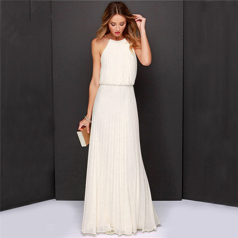 Elite99 Summer White Pleated Dress Maxi Great Gatsby Dresses Women Long Chiffon Evening Prom Party Plus Size Robe In From S