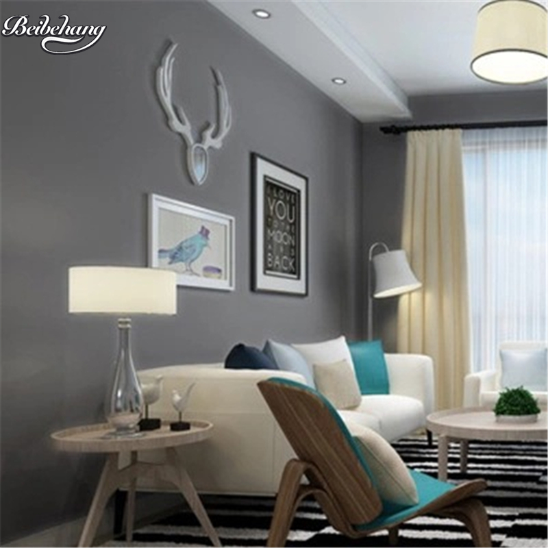 Buy beibehang Modern simple simple color non - woven wallpaper clothing shop office studio Internet cafes living room gray wallpaper