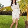 М & B мода из двух частей набор женщины цветочной вышивкой с длинным рукавом кружева растениеводство топ обрезанные высокая талия мини-юбка-карандаш 2017 летом