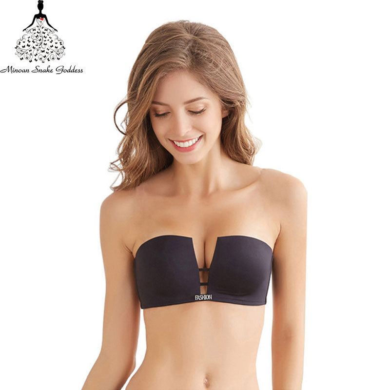 Push Up Invisible Bras For Women Seamless Square Cup Bra Bralette Deep-V Brassiere BH Strapless Wire Free Underwear Fly Bra
